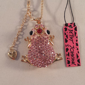 Betsey Johnson Frog Pink Crystal Necklace + Gift